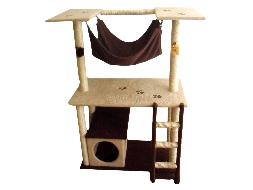 Gimnasio de tres niveles con hamaca - Casas para gatos baratas ...
